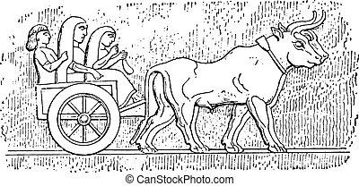 Assyrian cart, vintage engraving.