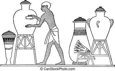 Cleaning an Egyptian vessel, vintage engraving.