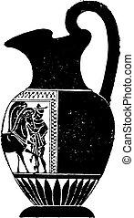 Black vase decorated on one side only, vintage engraving. -...