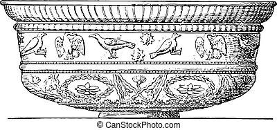 Terracotta vase, vintage engraving - Terracotta vase,...