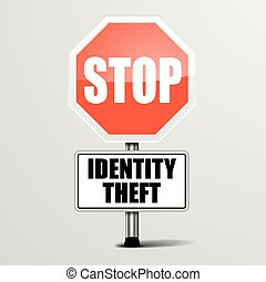 Stop Identity Theft - detailed illustration of a red stop...