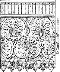 Terracotta ornaments, vintage engraving. - Terracotta...