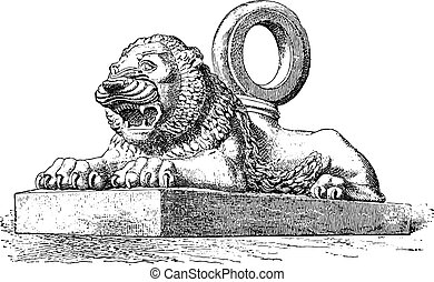 Lion Assyrian bronze, vintage engraving.