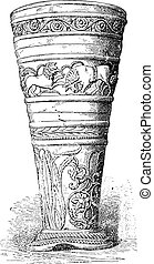 Silver Goblet treasure of Hildesheim, vintage engraving. -...
