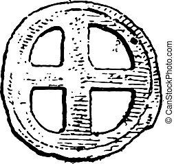 primitif, argent, Gauls, vendange, engraving.,