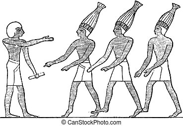 Egyptian buffoons, vintage engraving.