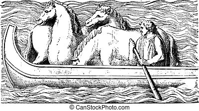 Horses on a boat, vintage engraving.