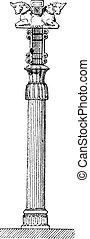 Persepolis column, vintage engraving.