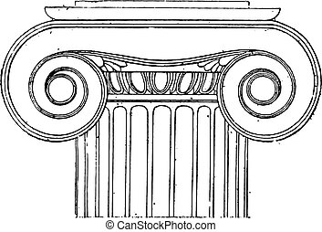 Ionic capital of the Temple of Wingless Victory, vintage engraving.