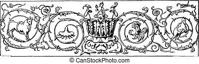 Rinceau, vintage engraving.