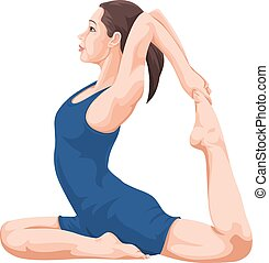 Vector of woman performing yoga.