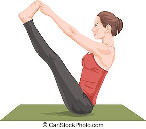 Vector of woman stretching on yoga mat.
