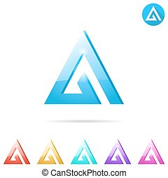 Delta letter logo template with color variations, 2d and 3d...