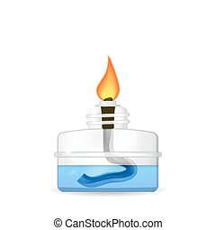 Chemical alcohol burner, 3d illustration, isolated on white...