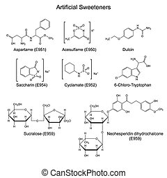 Sweeteners - food additives - Structural chemical formulas...