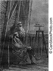 The Colonel and astronomer, vintage engraving. - The Colonel...