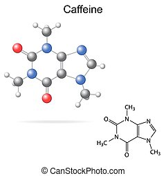 Caffeine molecule - Structural model, chemical formula of...