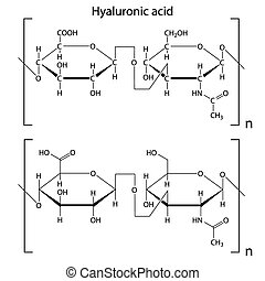 Hyaluronic acid - Chemical formula of hyaluronic acid,...