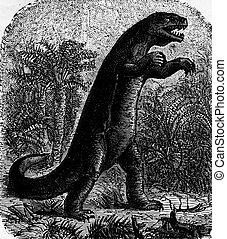 Dinosaur, vintage engraving - Dinosaur, vintage engraved...