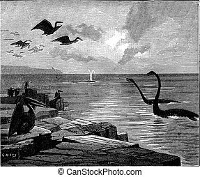 Instead of Paris, it was the sea. Pterodactyls with broad...
