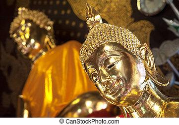 Golden Buddha at Wat Jet Yod, Chiang Mai, Thailand - CHIANG...
