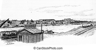 View from the harbor in Les Coches to the bridge of Bercy,...