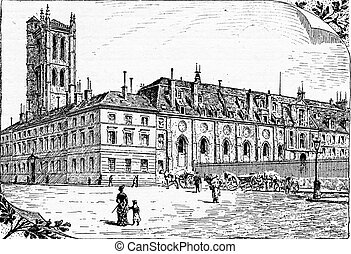 Tour Clovis and remnants of the old cloister, vintage engraving.