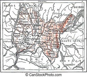 Map of Department of Ain, vintage engraving.