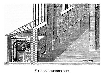 Furnace placed in a shed, vintage engraving - Furnace placed...