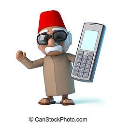 3D, marocain, à, a, mobile, téléphone,