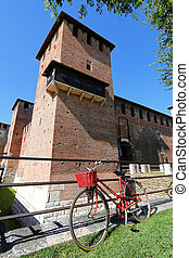Castle Fortress (Castelvecchio) - A red bicycle in front of...