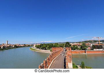 Castel Vecchio Bridge in Verona - Castel Vecchio Bridge...