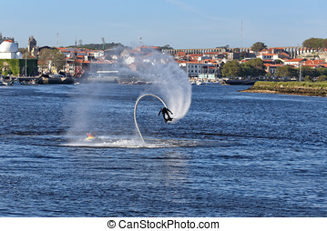 Flyboard training - Vila do Conde, Portugal - May 16, 2015:...