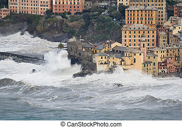Storm in Camogli 2 - Sea storm in camogli, famous small town...