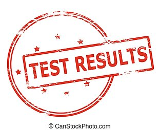 Test results - Rubber stamp with text test results inside,...