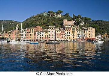 Portofino - Panorama of Portofino, famous small town near...