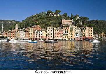 Portofino - Panorama of Portofino, famous small town near...