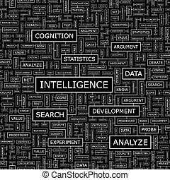 INTELLIGENCE Seamless pattern Word cloud illustration