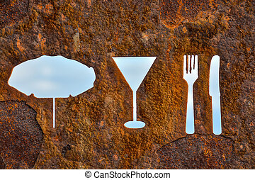 Rusty Oxidated Restaurant Sign - Classic Vintage Old Rusty...