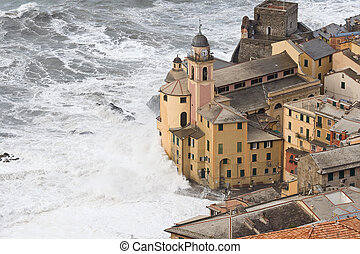 Storm in Camogli - Sea storm in camogli, famous small town...
