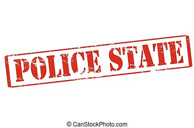 Police state - Rubber stamp with text police state inside,...