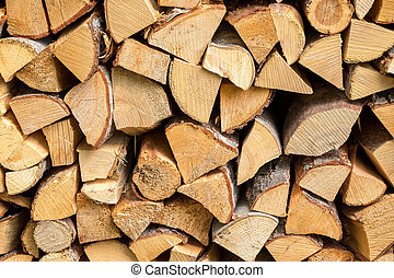 Fire wood stack - Stack of chopped fire wood for winter