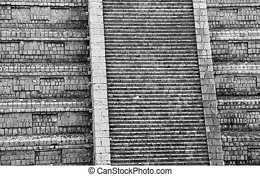 Ancien, temple, escalier, de, a, pré, Colombien,...