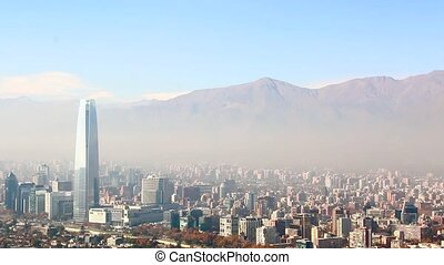 Santiago, capital of Chile under early morning fog