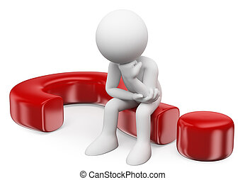 3D white people Doubting man sitting in a question mark - 3d...