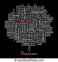 TERRORISM Background concept wordcloud illustration Print...