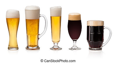 set of beer Glass isolated on a white background