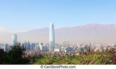 Santiago, chile. View from Cerro San Cristobal. In the...