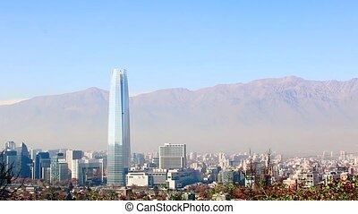 Santiago city skyline landscape time lapse Chile
