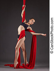 Magnificent female dancer on aerial silks posing at camera